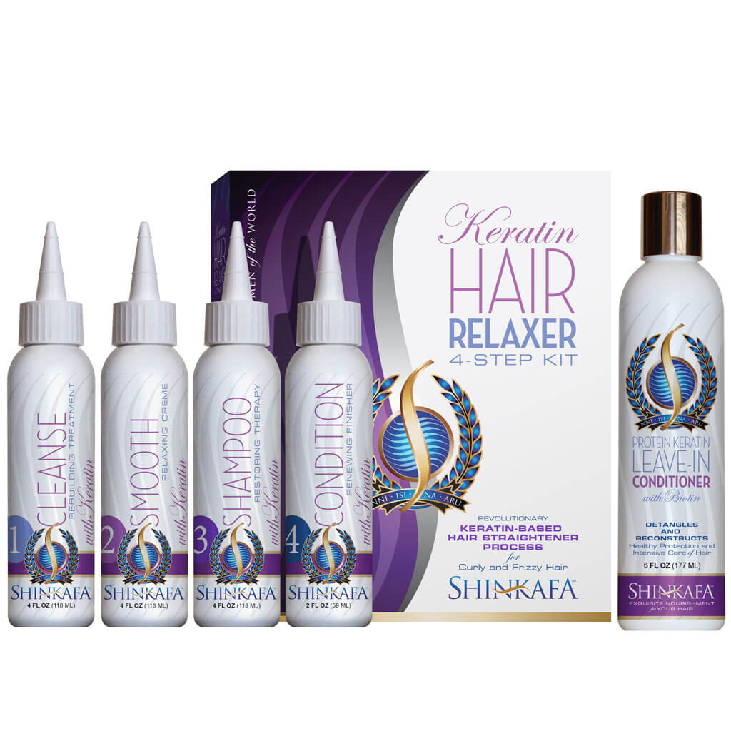 Shinkafa Keratin Hair Relaxer 4-Step Kit with Leave-In Conditioner
